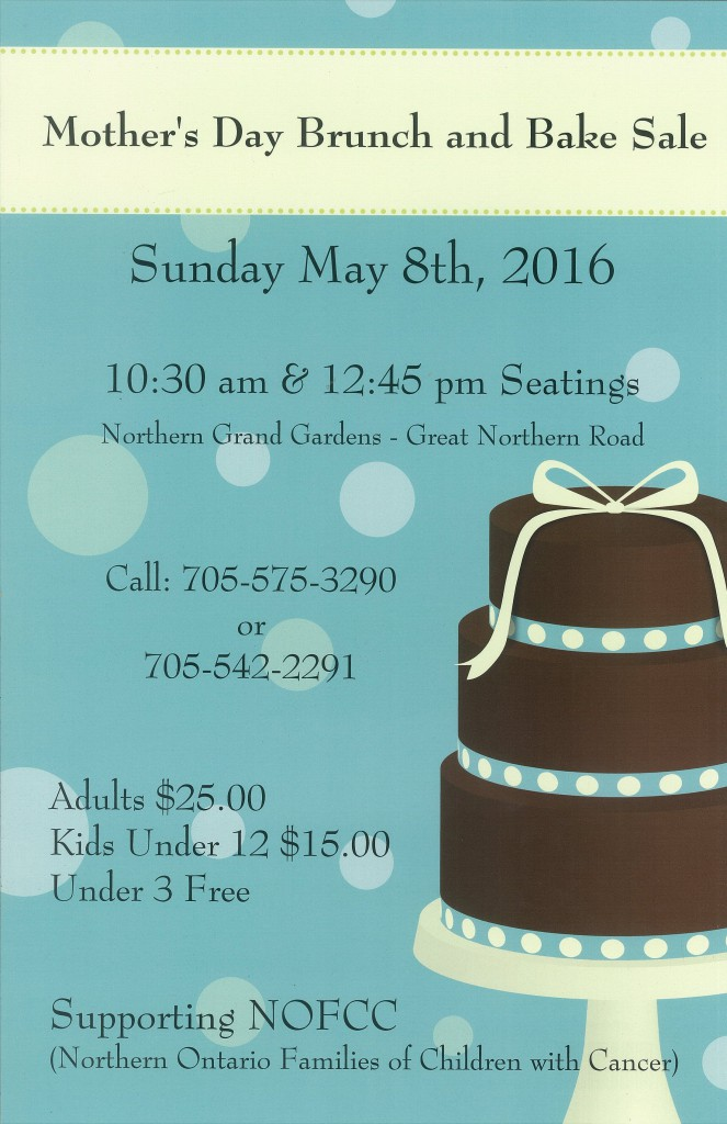 Mother's Day Brunch & Bake Sale Sault Ste. Marie